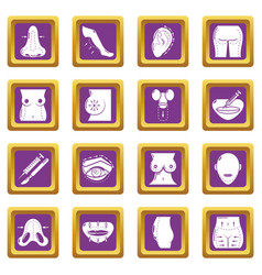 Body parts icons set purple square vector