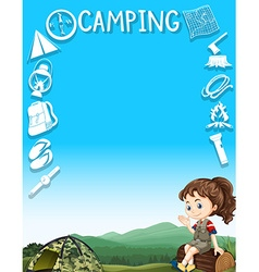 Border design with camping gears and girl vector