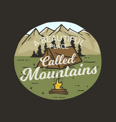 camping graphic for t-shirt prints vintage hand vector image