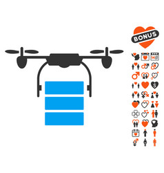 cargo drone icon with love bonus vector image