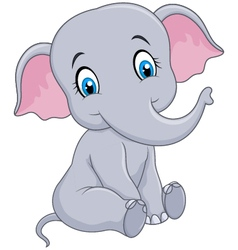 Cartoon funny baby elephant sitting isolated vector