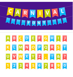 Cartoon uppercase abc font set on party flags vector