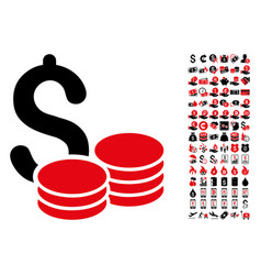 cash icon with 90 bonus pictograms vector image