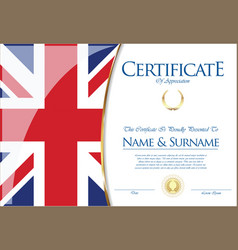 certificate or diploma the united kingdom flag vector image