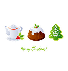 christmas pudding gingerbread cookie and tea icon vector image