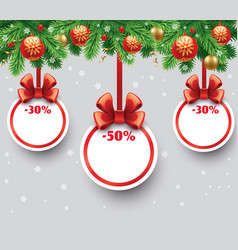 Christmas sale gift card with red ribbon vector