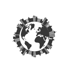 City planet silhouette urban building towers icon vector