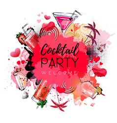 Cocktail party poster design cocktail menu vector