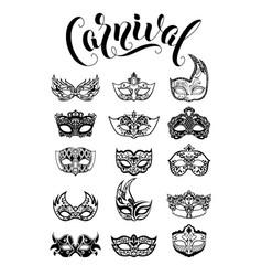 Collection carnival masquerade masks vector