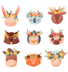 collection colored cartoon animals flat vector image