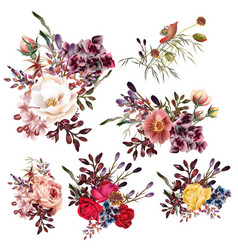 Collection high detailed flowers realistic style vector