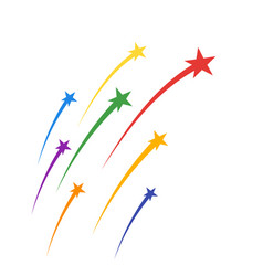 colored soaring fireworks stars plumes vector image