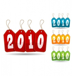 colorful 2010 tags vector image