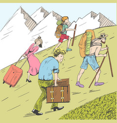 Comic strip tired travelers climb a mountain vector