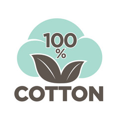 cotton labels or logo for pure 100 percent natural vector image
