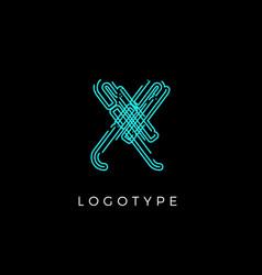 Cyber letter x for digital technology logo concept vector