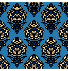 Damask blue flower seamless patter vector