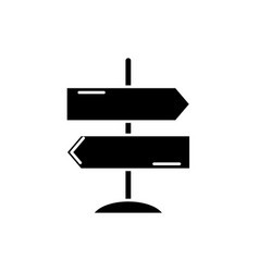 direction of travel black icon sign on vector image