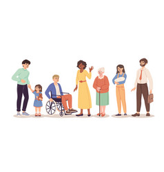 Diverse group of people standing together on white vector
