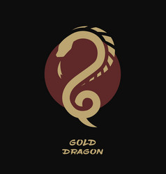 dragon logo against background sun vector image