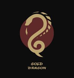 dragon logo against background sun vector image