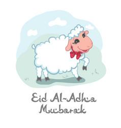 Eid al-adha mubarak card design with cute little vector