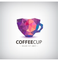 Faceted crystal 3d colorful cup coffee vector