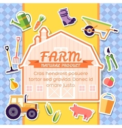 Farm equipment elements on background poster in vector