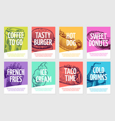 Fast food flyers coffee burger and hotdog pies vector