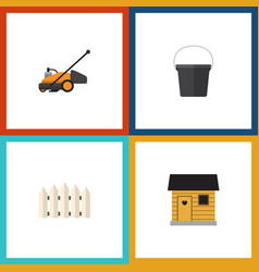 Flat icon dacha set of pail lawn mower wooden vector