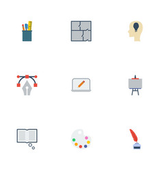 flat icons stand writing idea elements vector image