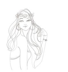 Flower power bohemian hippie chic girl vector