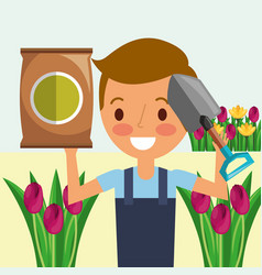 Gardener boy with shovel potting soil flowers vector