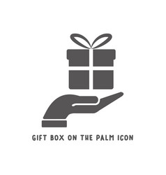 gift box on palm hand icon simple flat style vector image
