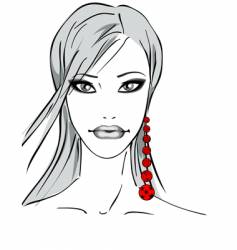 Girl with earring vector