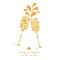 Golden lace roses toasting wine glasses vector