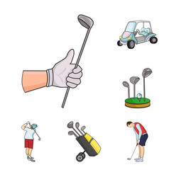 Golf and attributes cartoon icons in set vector
