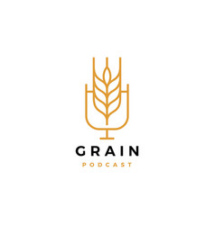 Grain podcast logo icon for food blog video vlog vector