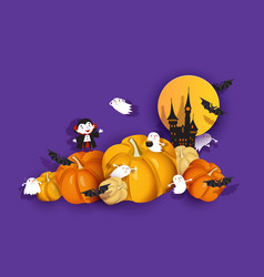 Halloween 3d design papercut ghoul vampire bat vector