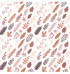 hand drawn autumn floral seamless pattern modern vector image