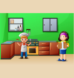 Happy cooking with sister and brother vector