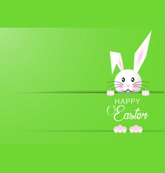 happy easter bunny template green background vector image