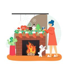 happy girl putting gift box in christmas sock vector image