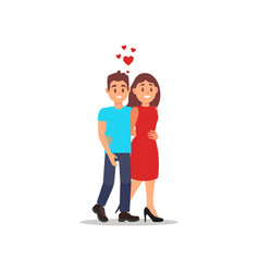 happy romantic couple walking and hugging young vector image