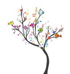Happy tree with birds vector image