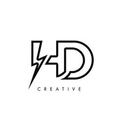 Hd letter logo design with lighting thunder bolt vector