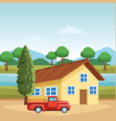 house and truck vector image
