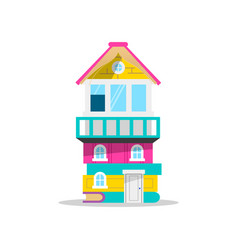 House made of books for kids education concept vector