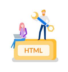 Html programming man developer with instrument vector