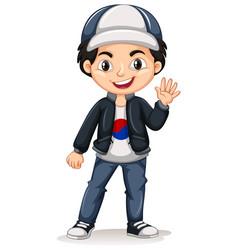 Korean boy wearing cap and jacket vector